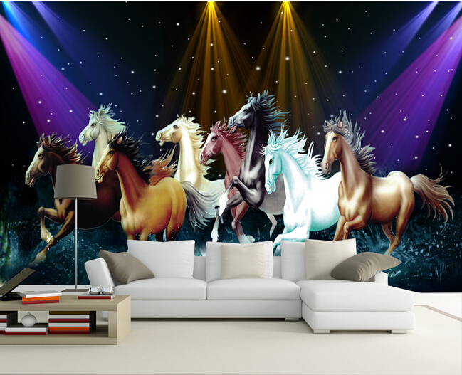 Custom 3D Large Mural,The Eight Horses Papel De Parede,KTV,Bar  Wall Paper