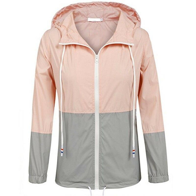 Женские базовые куртки на молнии с карманами, повседневные пальто с длинными рукавами, осенняя Лоскутная куртка-ветровка с капюшоном, топы