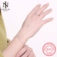 INALIS Wholesale 925 Sterling Silver Bracelet Bangle Rings With Zircon Stone For Women Hands Fine Jewelry