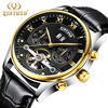 Business Mechanical Automatic Watch Mens Skeleton Tourbillon Genuine Leather Wrist Watch Stainless Steel Calendar Male Watches