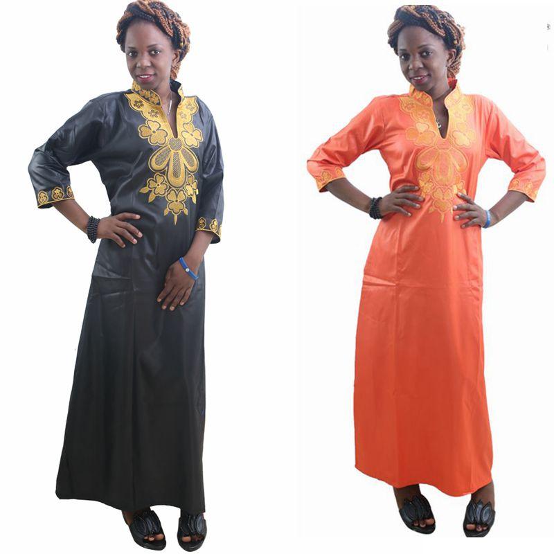 H&D 2018 All africa Estilo de moda de verano Vestido maxi de señora Riche Bazin Imprimir camisa bordado africano Kaftan vestidos para mujeres