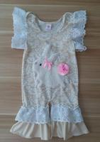Hot Newborn Outfits Easter Rompers Girls Clothes Infant Cotton Jumpsuit Baby Girls Bunny Pattern Beige Boutique