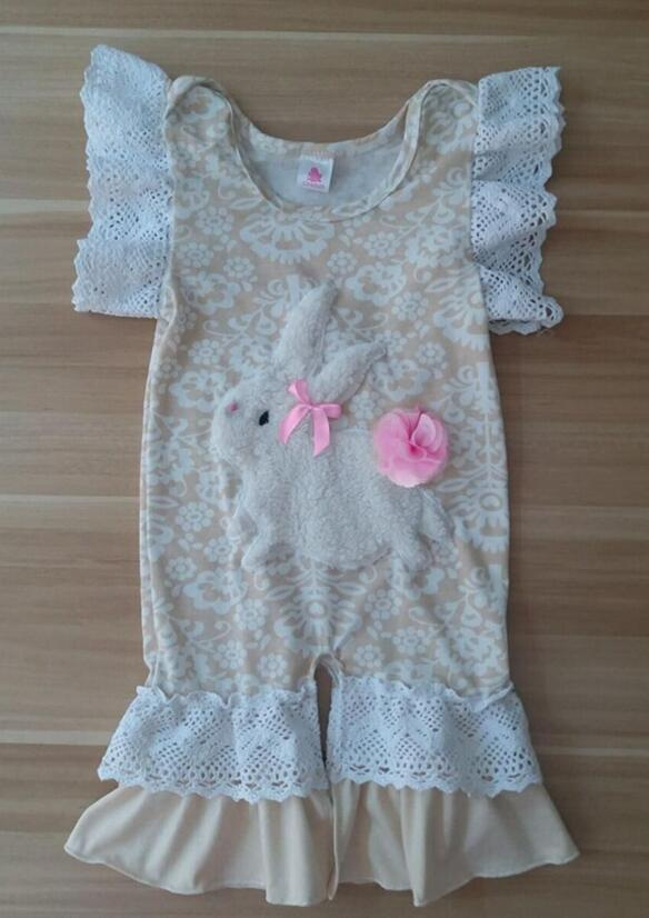 Hot Newborn Outfits Easter Rompers Girls Clothes Infant Cotton Jumpsuit Baby Girls Bunny Pattern Beige Boutique Gpf712 027