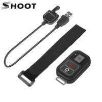 SHOOT 0.8 Inch Waterproof Wireless Wifi Remote Control for GoPro Hero 7 6 5 4 3 with Charger Cable Strap for Go Pro Accessories
