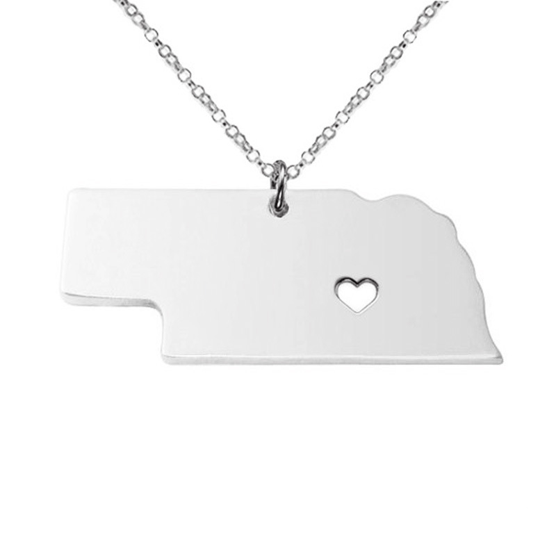 5PCS Newly American State Nebraska Necklace 316 Stainless Steel Heart Map Necklace 3Colors
