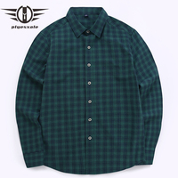 Plyesxale Male Plaid Shirts High Quality Long Sleeves Casual Shirt Camisa Masculina Green Black White Pure Cotton Chemise T14