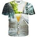[Amy] Special design Fail zipper building 3d t shirt men/women casual t-shirt short sleeve summer tee T1537-38 free shipping