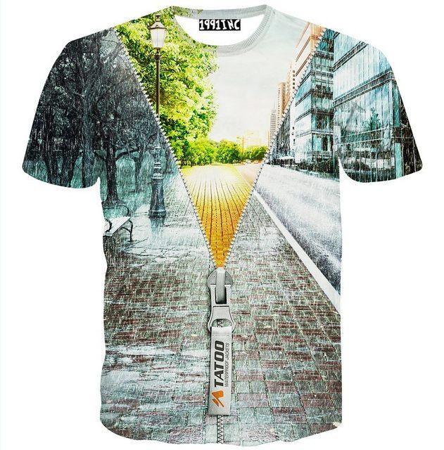 Online Shop [Amy] Special design Fail zipper building 3d t shirt men ...