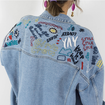 2018 brand new Spring Autumn  Hot sale Loose style fashion casual popular pure women denim Jacket  Cheap wholesale A222