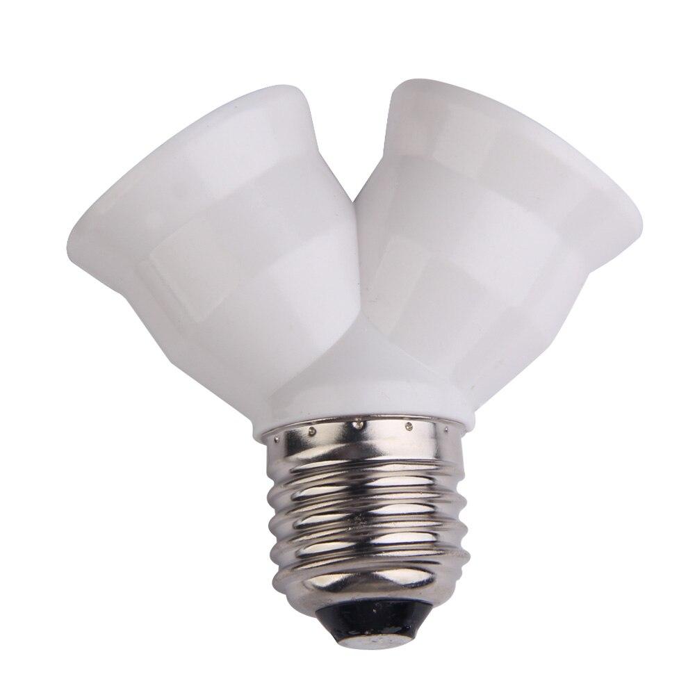 E27 Bulb Base Splitter Y Shape Light Lamp Bulb Socket 1 to 2 Splitter Adapter Converter Socket White Copper Lamp Holder