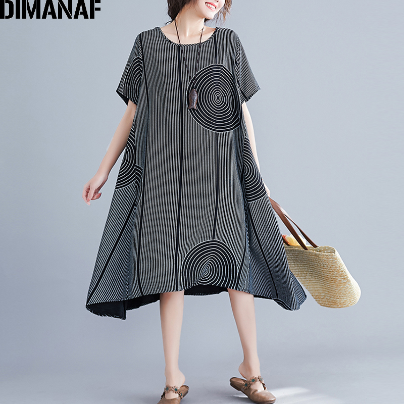 DIMANAF Summer 2019 Plus Size Women Dress Vintage Big Size Cotton Print Striped Female Clothes Lady Vestidos Loose Casual Dress