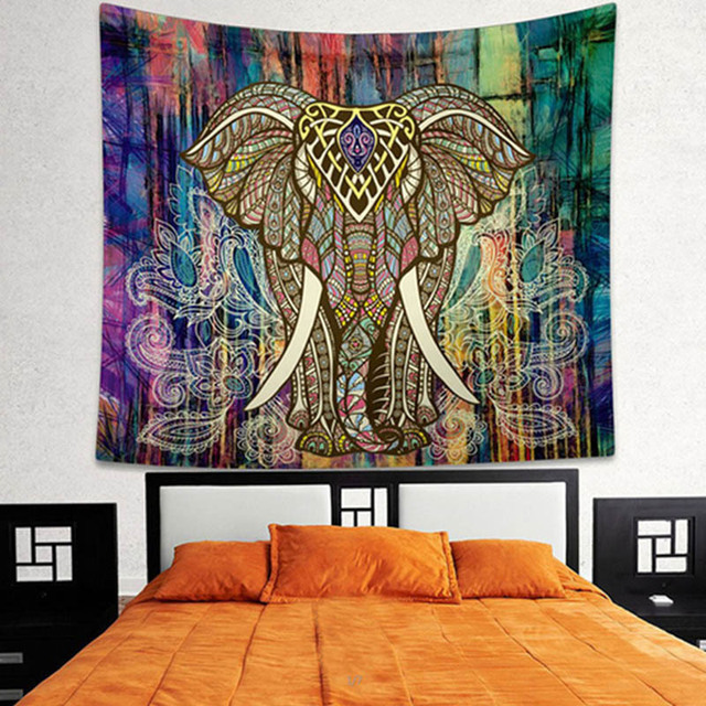 Psychedelic Wall Hanging Elephant Tapestry Printed Indian Elephant Mandala  Tapestry For Bedroom Living Wall Bohemian Tapestries