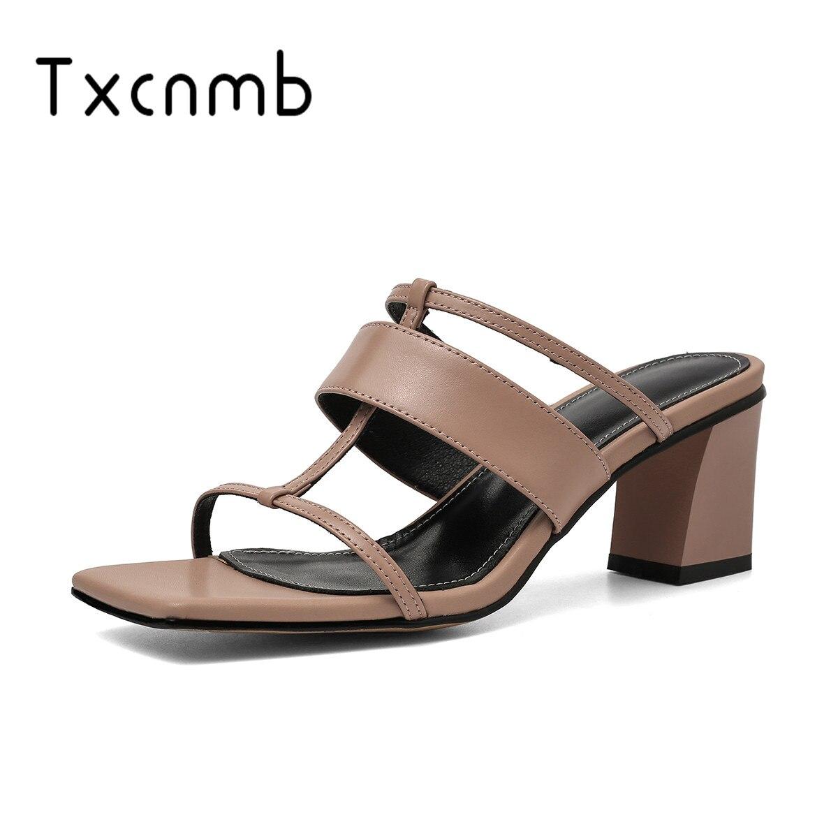 TXCNMB 2019 Sweet Genuine leather Sandals weomen High Heels Concise Basic Sandals Buckle Strap Elegant Pumps
