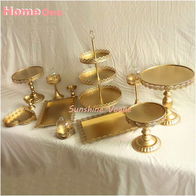 Gold cake stand set 12 pieces wedding cake tools decoration glass ...