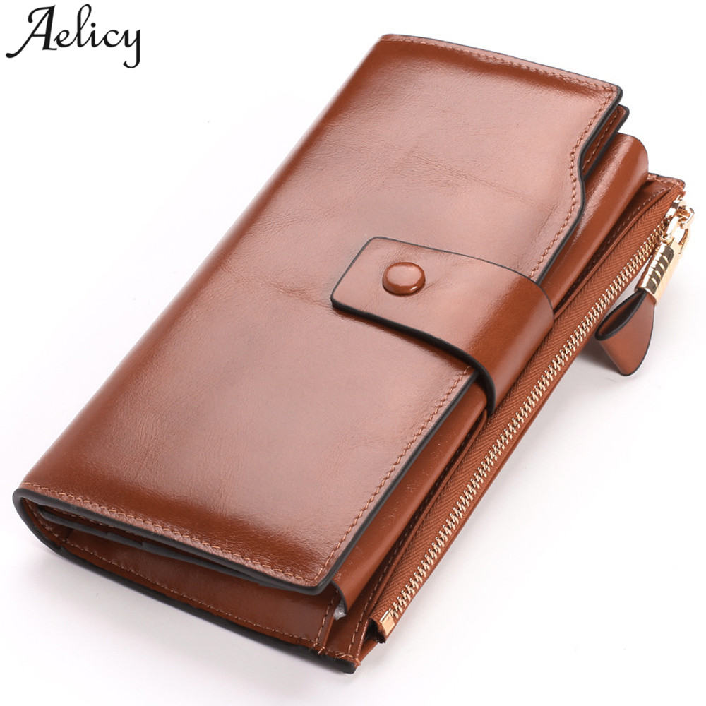 Aelicy 2018 Women Wallet Genuine Leather 100% Cowhide Leather Wallets Zipper & Hasp Three Fold Large Capacity Women Wallets ...