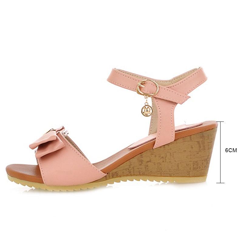 Doux Wedge Filles pink noeud Papillon Orteils La Cheville Fanyuan Talons Bride Chaussures Ouvert Boucle Beige blue Casual D'été À Femmes Hauts Sandales PaU1qzwO