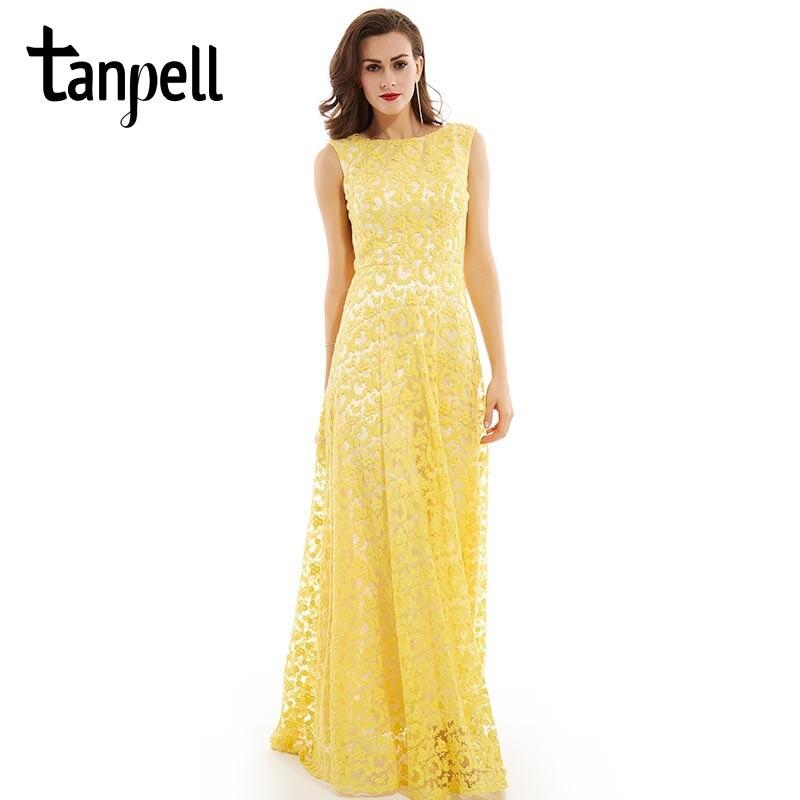 284cc80d9 Vestido de noche largo de encaje Tanpell daffodil scoop vestido sin mangas  largo hasta el suelo una ...