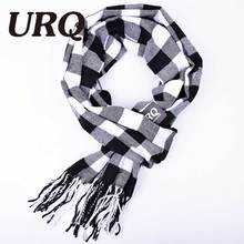 2016 winter New Mens Warm Soft Cashmere wool plaid tartan scarf checked Scarf black W3A17529