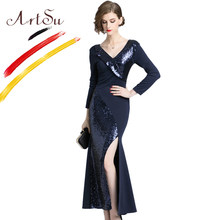 ArtSu Navy Blue Sexy High Split Party Dress Women Long Sleeve Bodycon Maxi  Mermaid Dress V-Neck Sequined Vestidos Mujer 2018 05398108e994