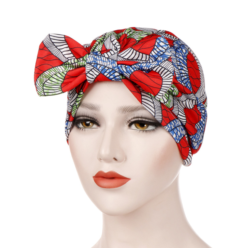 New Soft Cotton Bowknot Head Wraps Floral Caps Indian Turban Hair Accessories