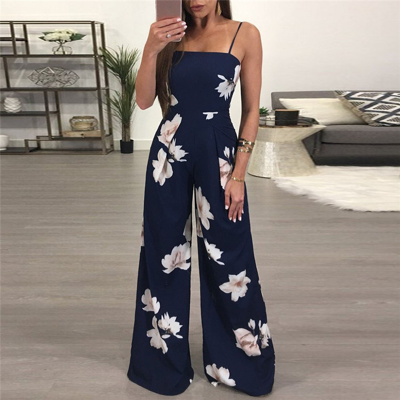 2018 Women Rompers Sexy Party Beach   Jumpsuits   Summer Floral Long Bodysuit Casual feminino Playsuit #Y05