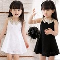 Free Shipping 2015 Baby Girls Lovely Dress Children's  Sequins Collar Sleeveless Vest Princess Lace Dress LQ542