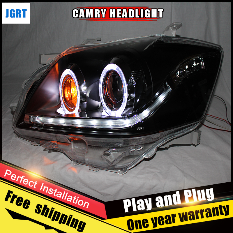 Car Style LED headlights for Toyota Camry V1 2009-2011 for CamryV1 head lamp LED DRL Lens Double Beam H7 HID Xenon bi xenon lens hireno headlamp for 2003 2009 toyota land cruiser prado headlight assembly led drl angel lens double beam hid xenon 2pcs