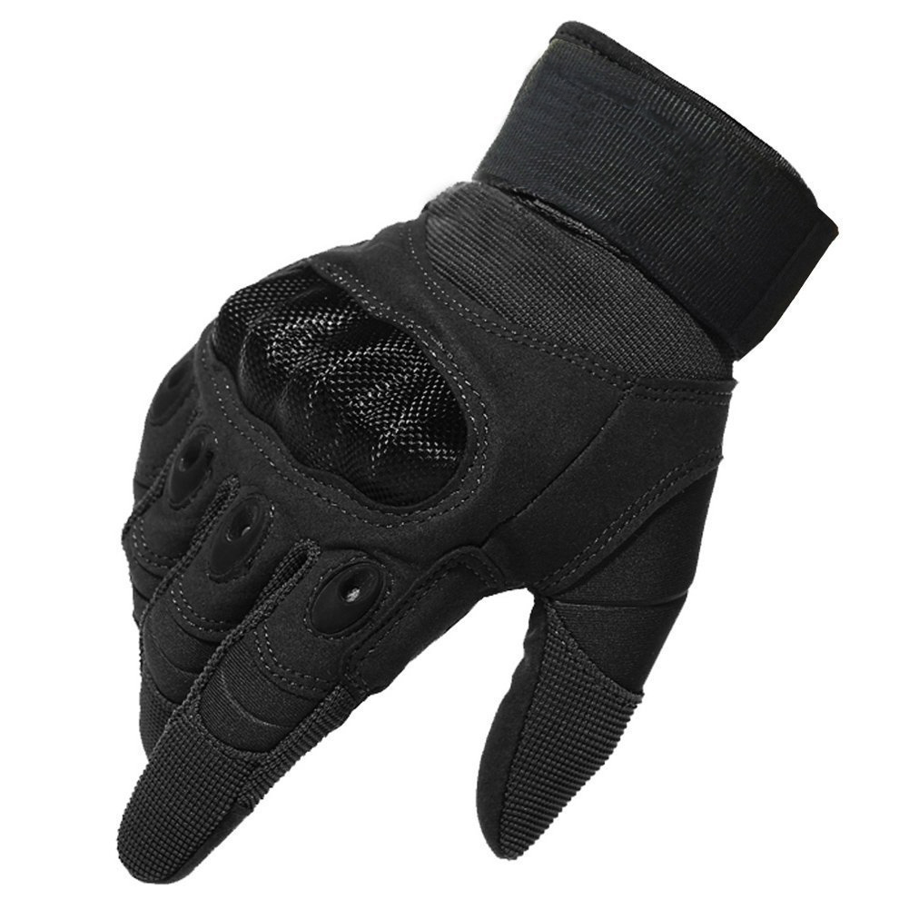 Black leather combat gloves - Touch Screen Hard Knuckle Tactical Full Finger Gloves Military Army Paintball Airsoft Outdoor Combat Anti