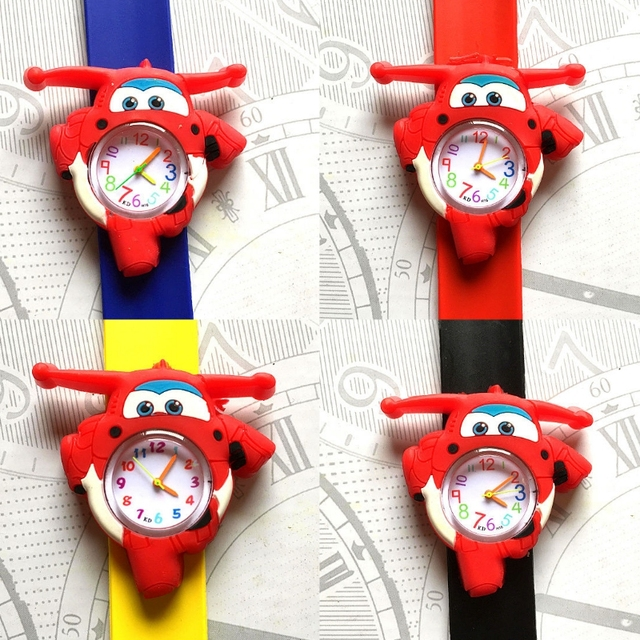 Children's Watches 3D Cartoon Aircraft car kids Baby Watch Clock Child Quartz Wa