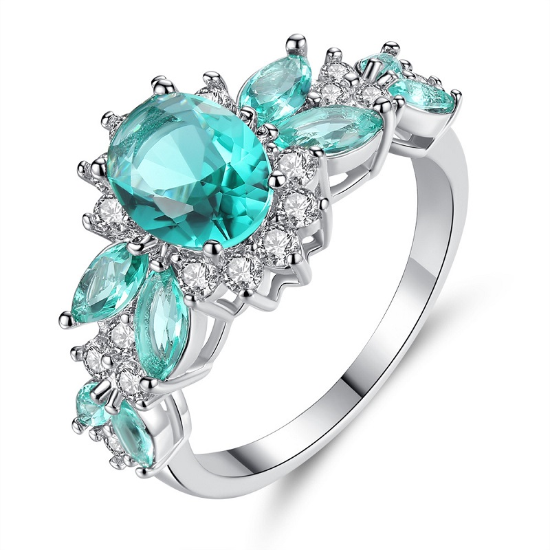 Big Zircon Wedding Rings For Women 2019 New Fashion Jewelry Cute Bijoux Femme Gift Blue Green Color(China)