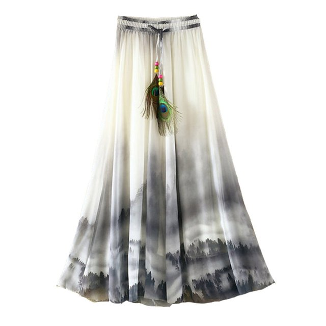 2019 Summer Bohemian Long Skirt Chiffon Vintage Faldas Largas Elegant Print Saia Longa Ladies Casual Maxi Skirts Women Clothes