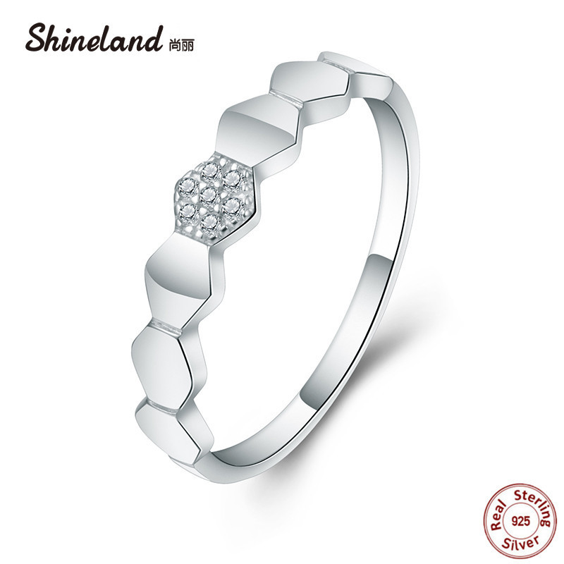 Shineland Genuine 100% 925 Sterling Silver Simple Geometric Finger Rings For Women Engagement Anniversary Jewelry Accessories