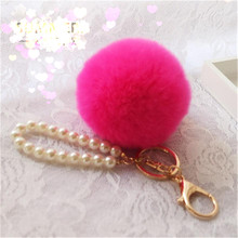 Fluffy Pompon Faux Rabbit Fur Ball Pom Pom Keychain Trinket Women Bag Pearl Charm Key Chain Ring Gold Keyring Jewelry Party Gift цена в Москве и Питере