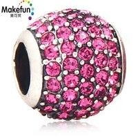 925 sterling silver Bead Austria Crystal Agujero Grande Encantos Compatible con Pandora Pulseras de cadena