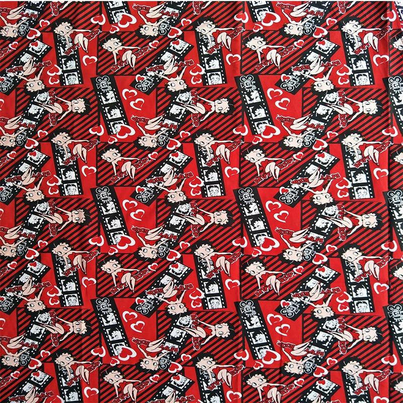 105X100 cm Sexy Betty Boop Rosso Tessuto di Cotone per Vestiti Dalla Ragazza Del Bambino Vestiti Tenda Cuscino Quilting Cucito DIY-AFCK046
