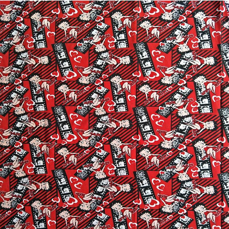 105X100 เซนติเมตรเซ็กซี่เบ็ตตีล่อสีแดงผ้าฝ้ายสำหรับชุดเด็กผู้หญิงเสื้อผ้าม่านปลอกหมอนอิงควิลท์จักรเย็บผ้า DIY-AFCK046