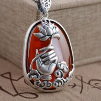 S990 Silver Antique Style female red Zircon Pendant Bergamot