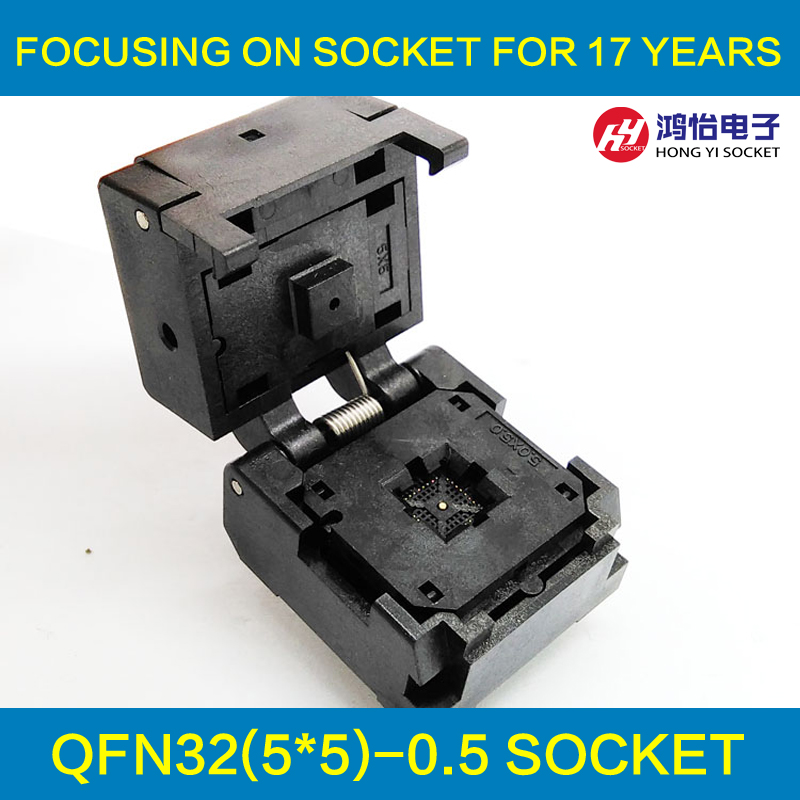 QFN32 MLF32 Burn in Socket IC Test Socket IC550-0324-007-G Pitch 0.5mm Chip Size 5*5 Flash Adapter Clamshell Programming Socket qfn40 mlf40 programming socket ic test socket pitch 0 4mm clamshell chip size 5 5 flash adapter burn in socket