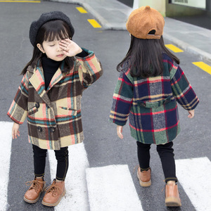 Image 2 - Anlencool 2020 New Spring Girls coat 1 5 years old female baby plaid wool coat kids fur coat  baby girl coat lattice clothing