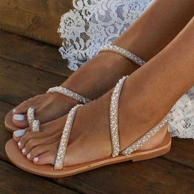 Women Toe Sandals Woman Flat Bottom Crystal Pearl Sandals Ring Bead Causal Sandals Plus Size 43 Beach Shoes Sapatos Femininos