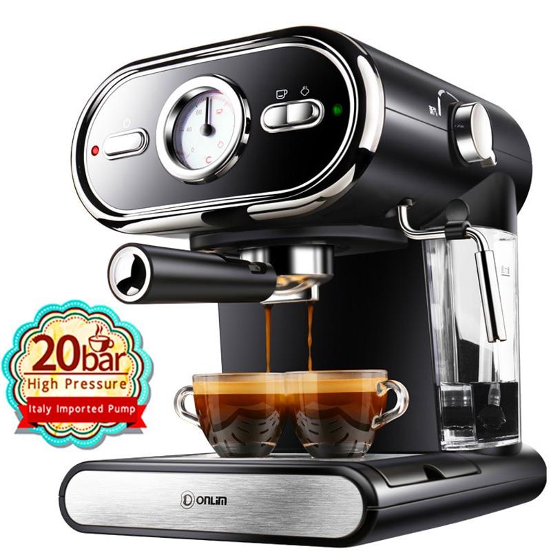 20bar máquina de café copos espresso semi-automática visualização doméstica leite espuma controle temperatura duplo