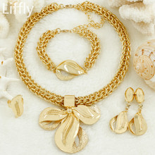 Liffly Bridal Jewelry Sets for Women Dubai Gold Color Set Necklace Earrings Fashion Jewellery Wholesale