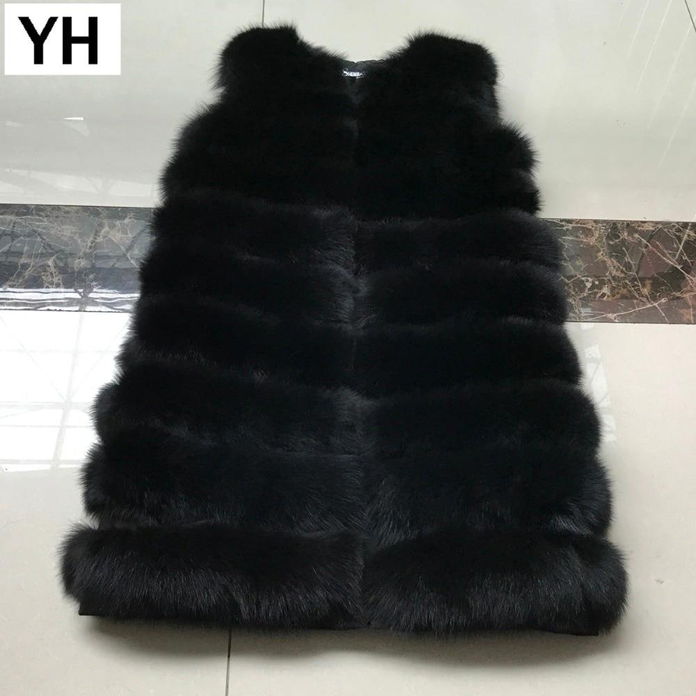 Réel Renard Style D'hiver Fourrure 90 Cm Chaud Long Naturel Et Black Manteau Doux Nouveau De 100 Femmes Véritable brown Gilet C1xqqtR