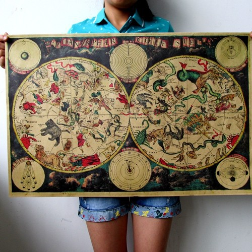 Large Vintage Style Retro Paper Poster Gifts 1680 ancient zodiac constellation map ...