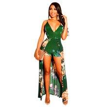 Summer Women's Bohemian Floral V-neck High Waist Beach Long Dress High Slit Cocktail Party Dress