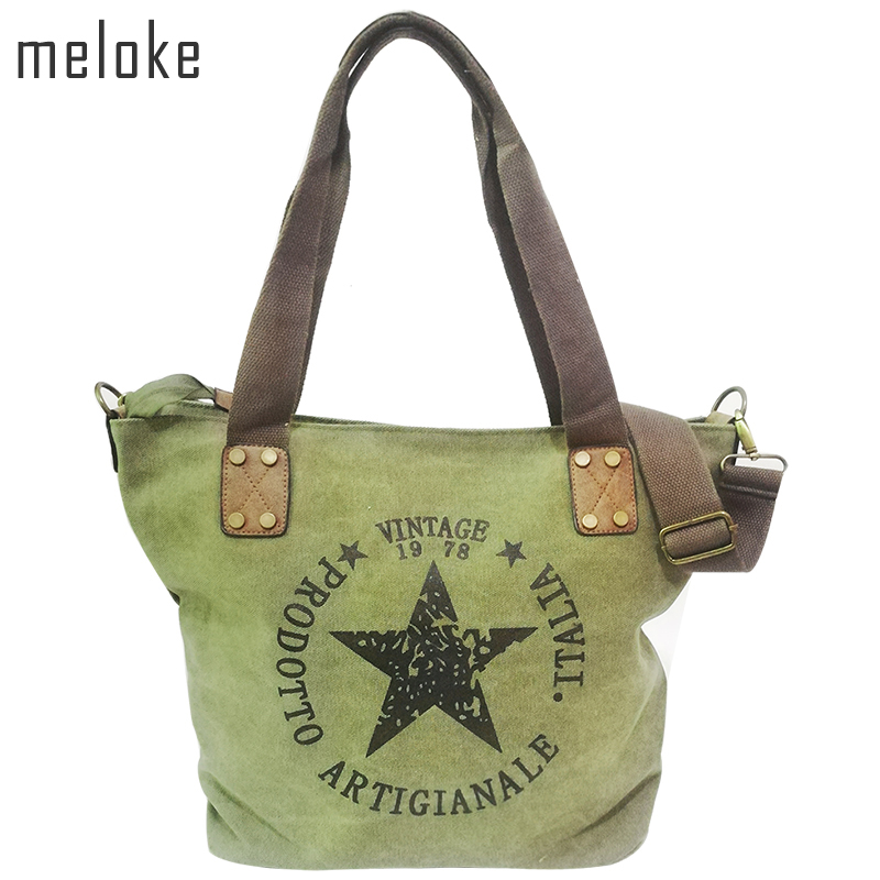 Meloke BIG STAR PRINTNING VINTAGE CANVAS SHOULDER BAGS Multifunktionella Travel Tote Handväska Letters Big Bolsos Canvas Book Bags