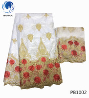 LIULANZHI bazin fabric white african fabric cotton riche getzner 2019 latest 5yards fabric+2yards french tulle lace PB10
