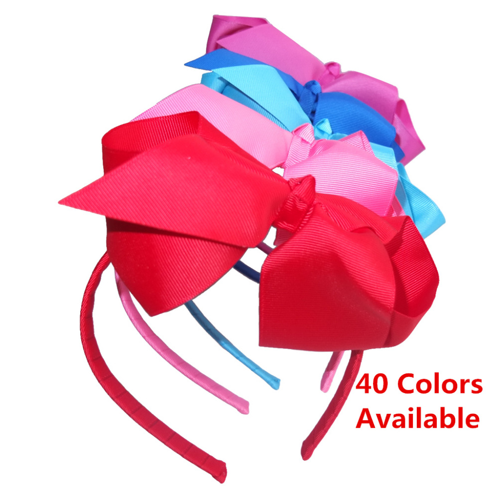 6 INCH hair bow with Hairband Hair Hoop Weave plastic Headband Ribbon Hairbands 40 Colors Available