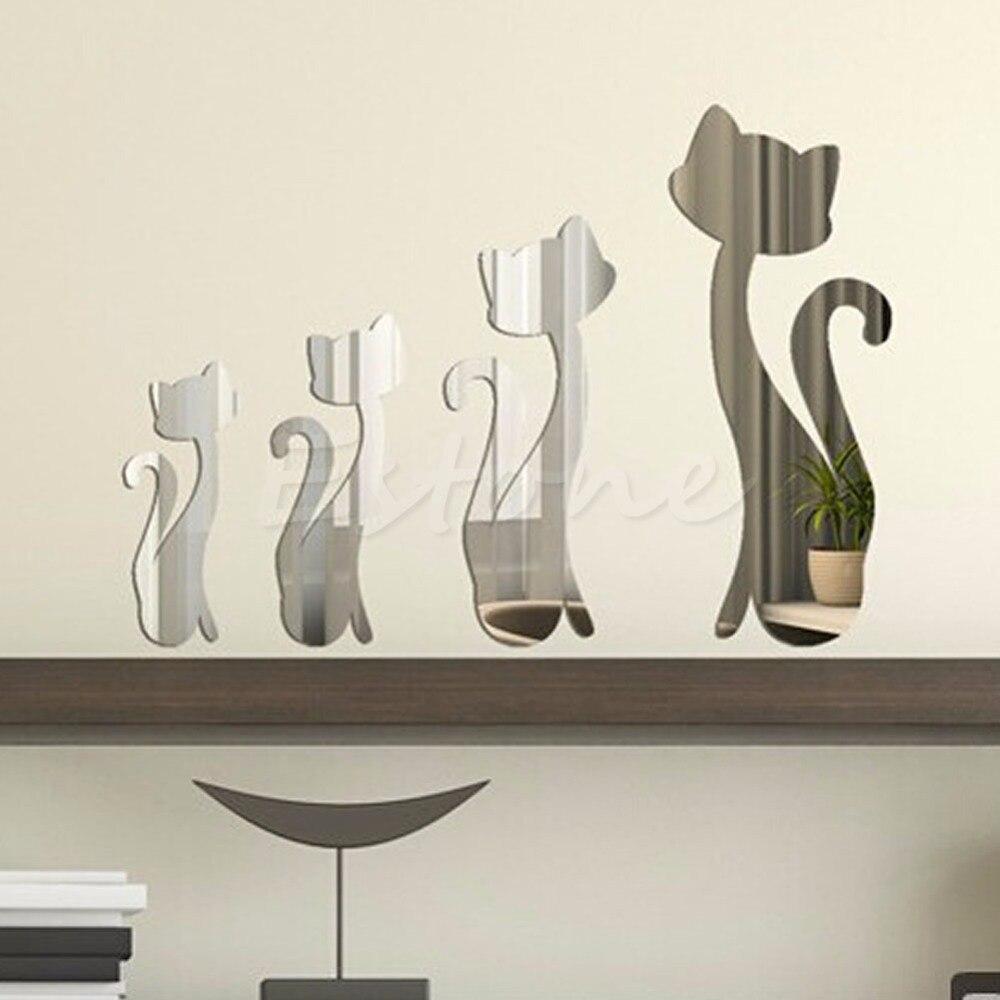 4 Pcs Cute Cats 3D Acrylic Mirror Wall Stickers Home Mural DIY Decal Art Decor