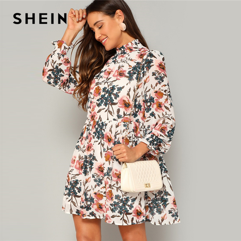 ca7c3851f9 SHEIN Bohemian Multicolor Frilled Neck and Cuff Floral Print Smock Flared  Dress Women Spring A-